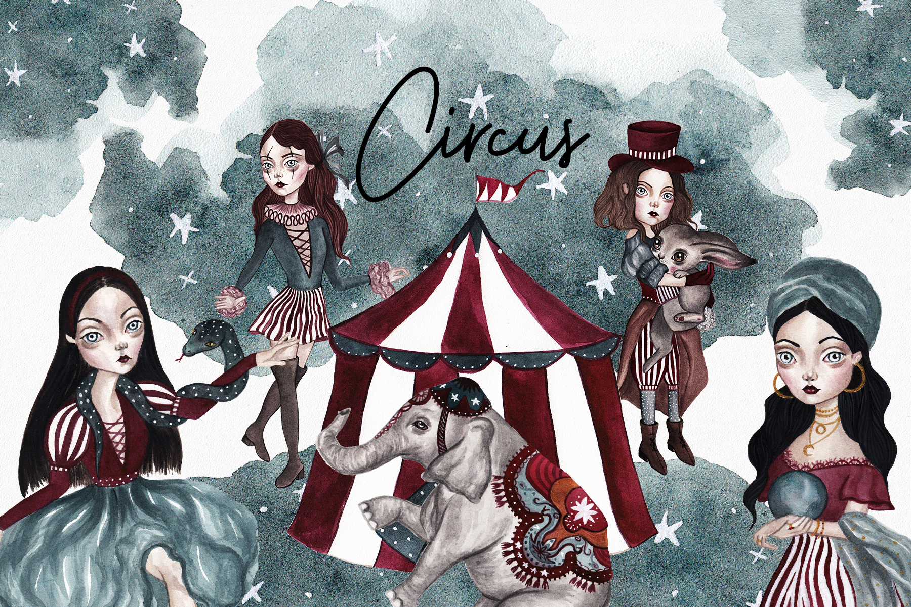 Circus Watercolor Set example image 1