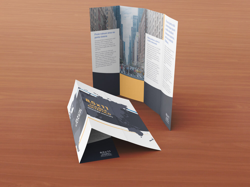 8.5 x 11 Double Gate Fold Brochure Mockups example image 4