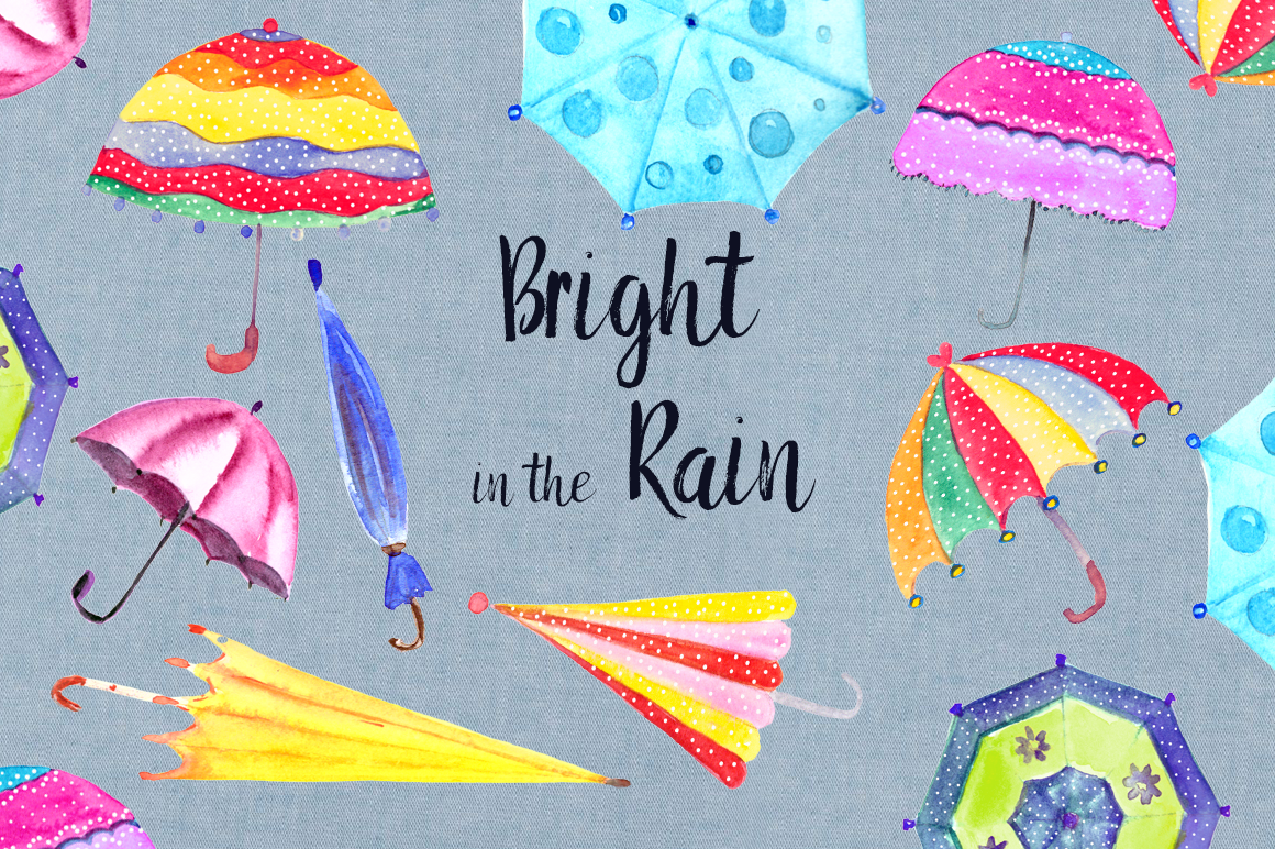Bright in the Rain Watercolor Clipart Set example image 1