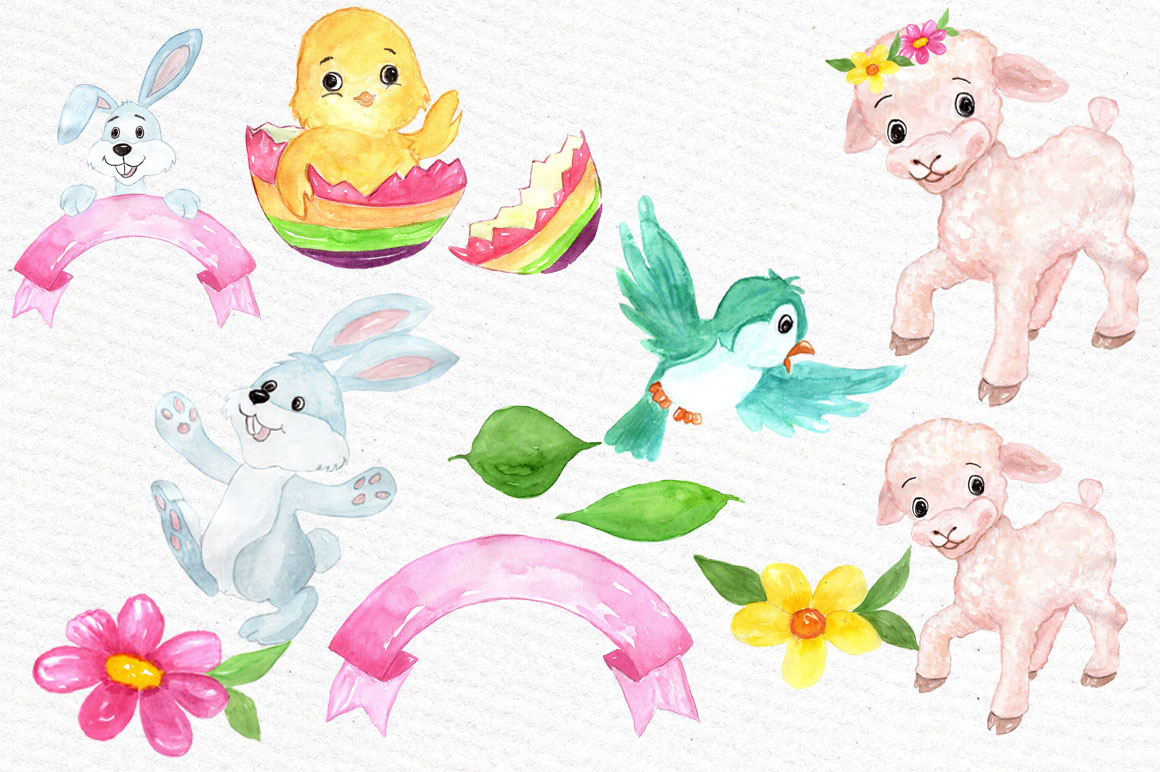 Watercolor Easter kids clipart example image 2