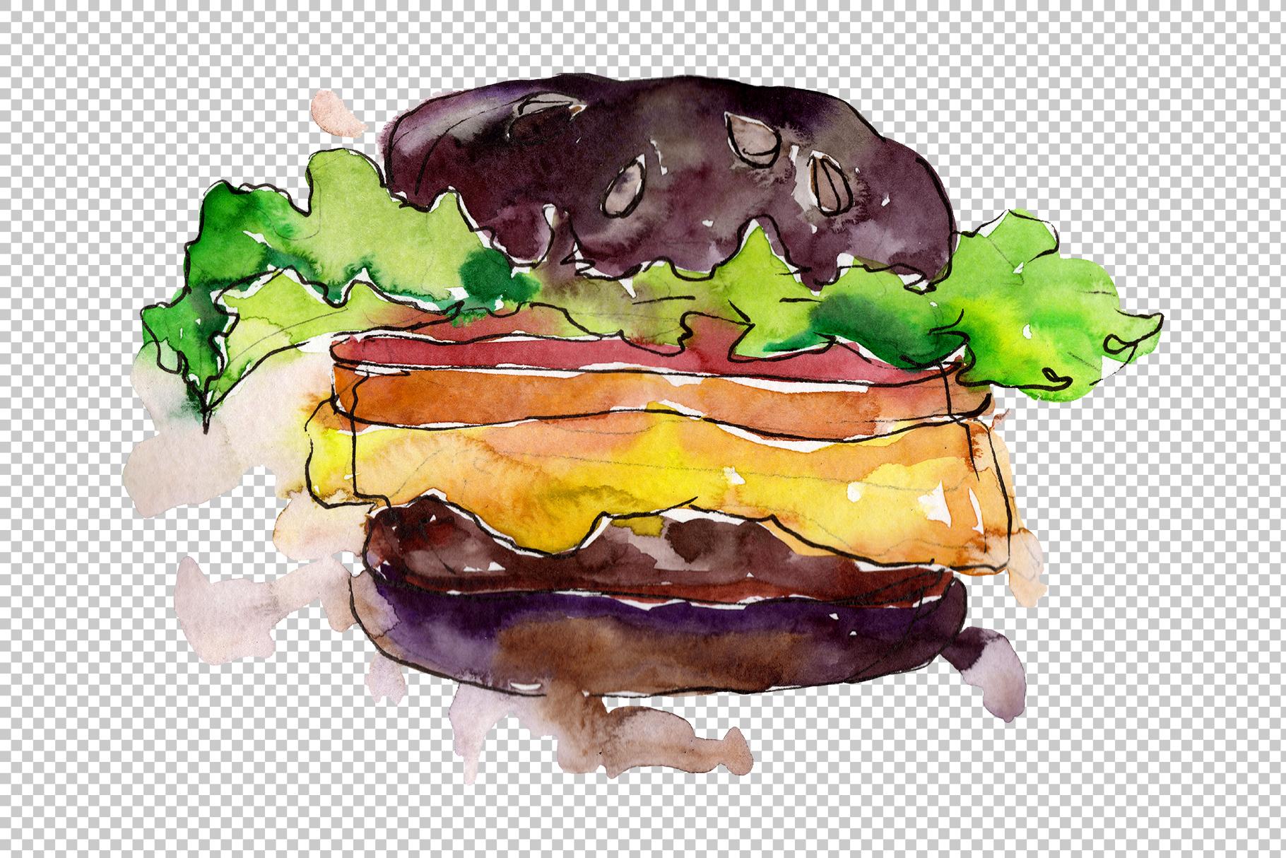 Hamburger Watercolor png example image 3