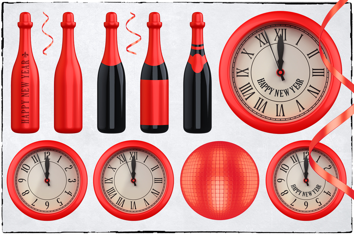 New Year 3D PNG Items Pack example image 13