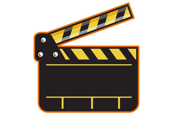 Movie Camera Slate Clapper Board Open Retro example image 1