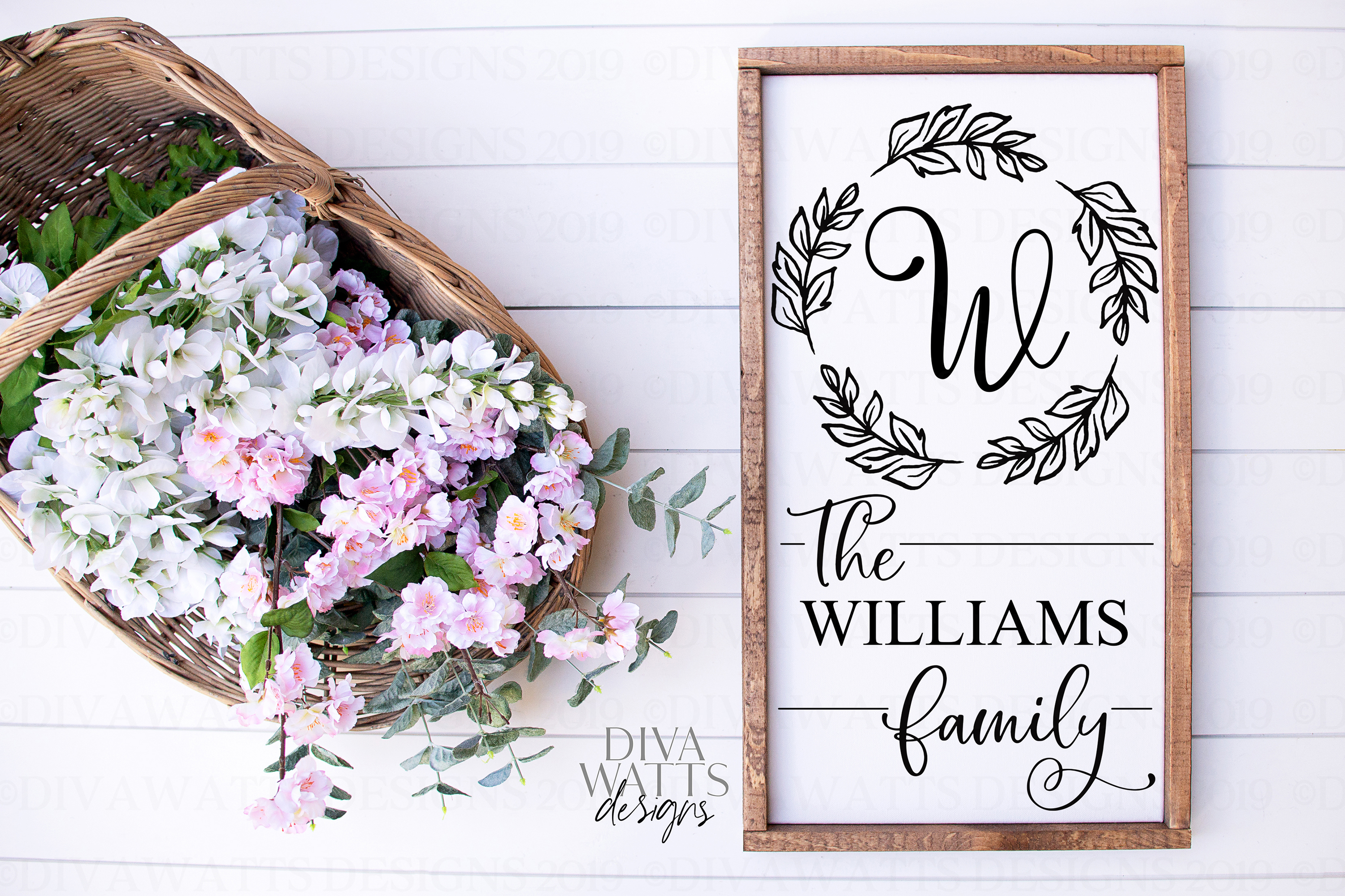 Farmhouse Monogram Last Name Cutting File SVG Sign example image 1