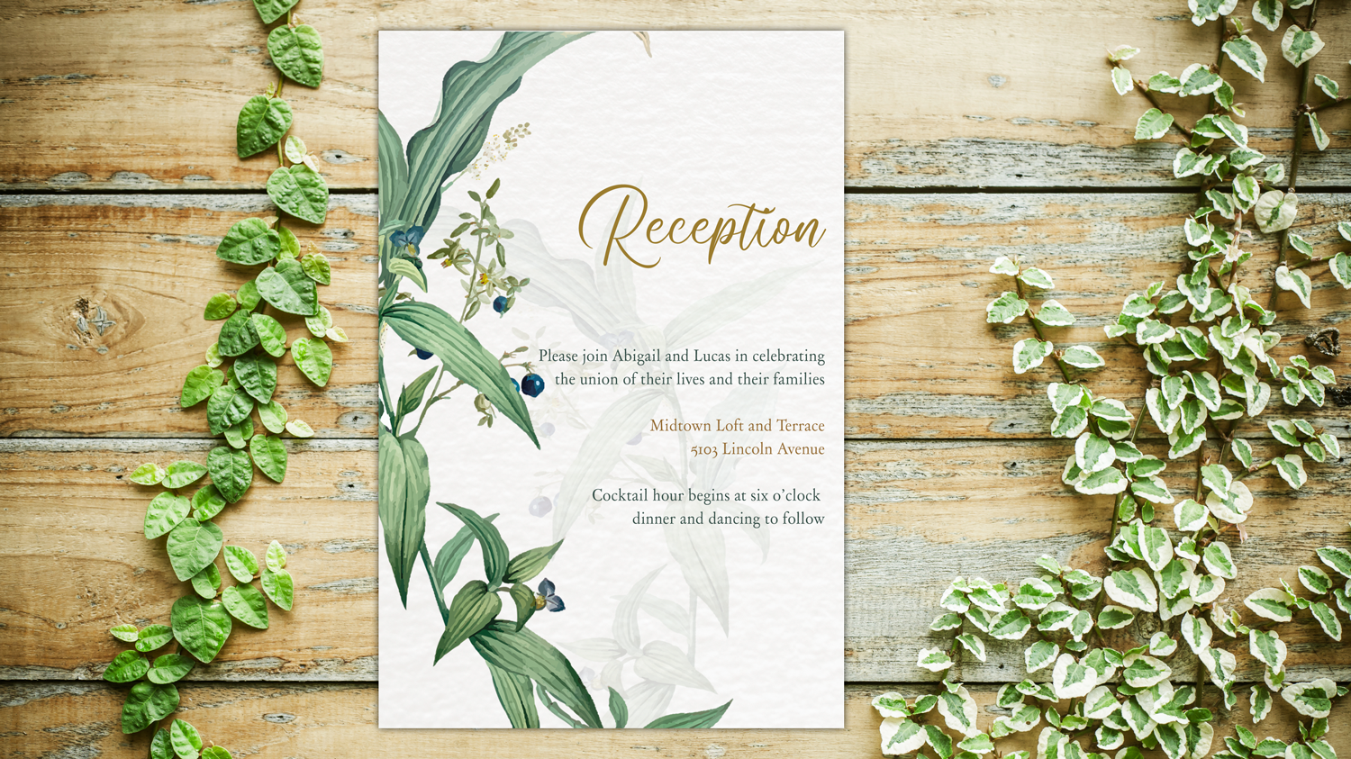 Greenery Wedding Invitation Template Set, Botanical example image 6