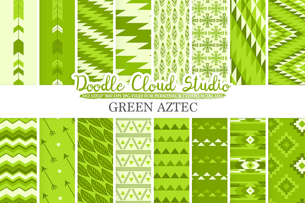 Green Aztec digital paper Tribal patterns native triangles geometric ethnic arrows background Instant Download for Personal & Commercial Use example image 1
