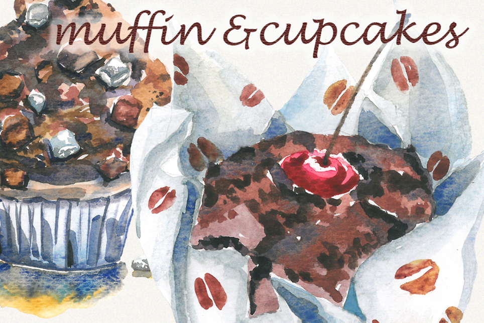 Muffin clipart, Cake clipart, watercolor cupcake clipart example image 3