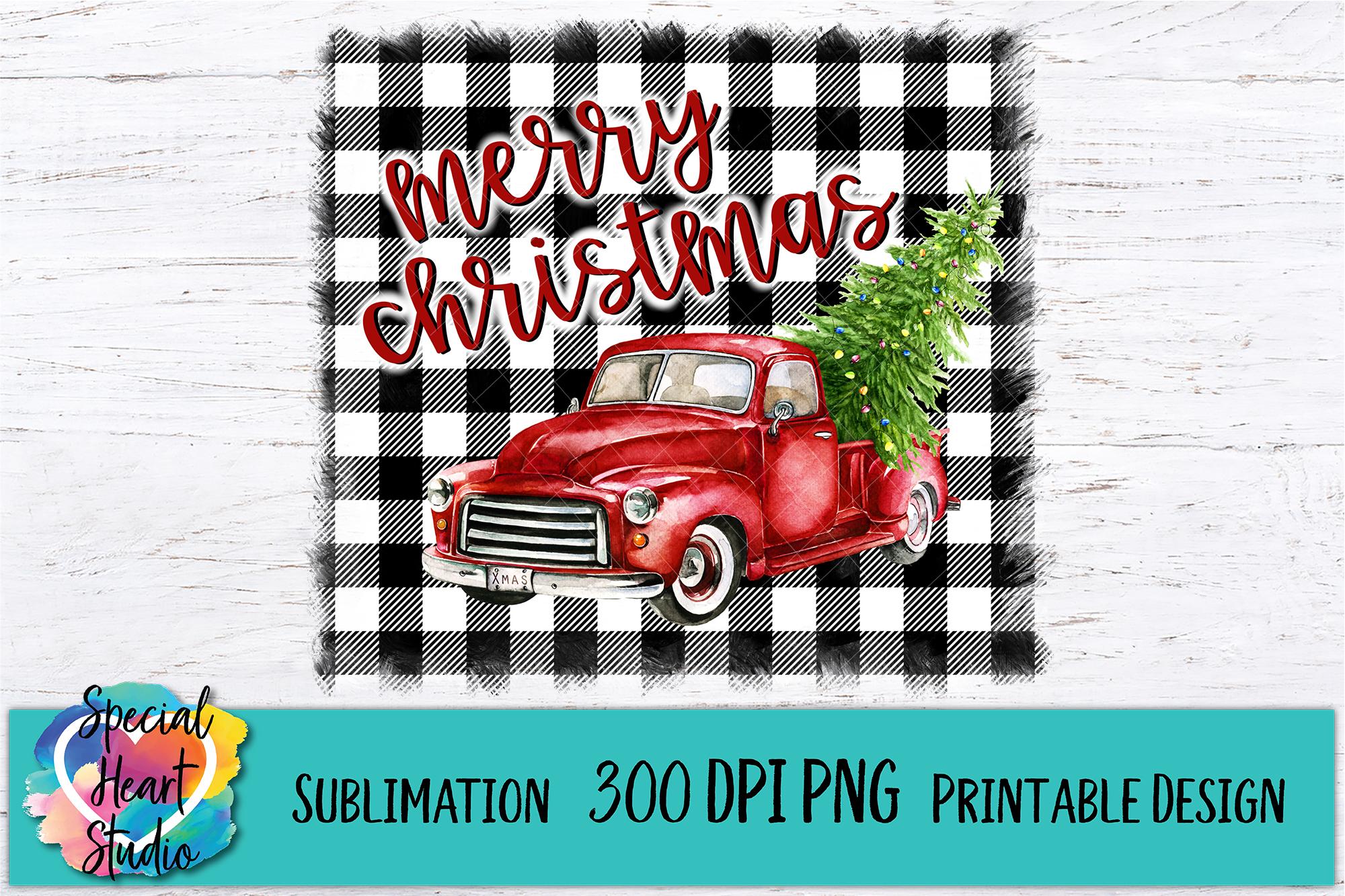 Christmas Sublimation Printable - Red Truck Buffalo Plaid example image 2