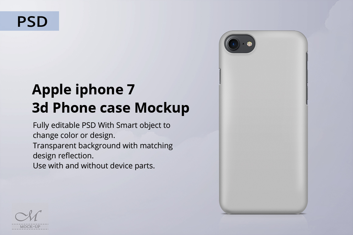 Free Apple iPhone 7 Back Cover Case Mock-up PSD File