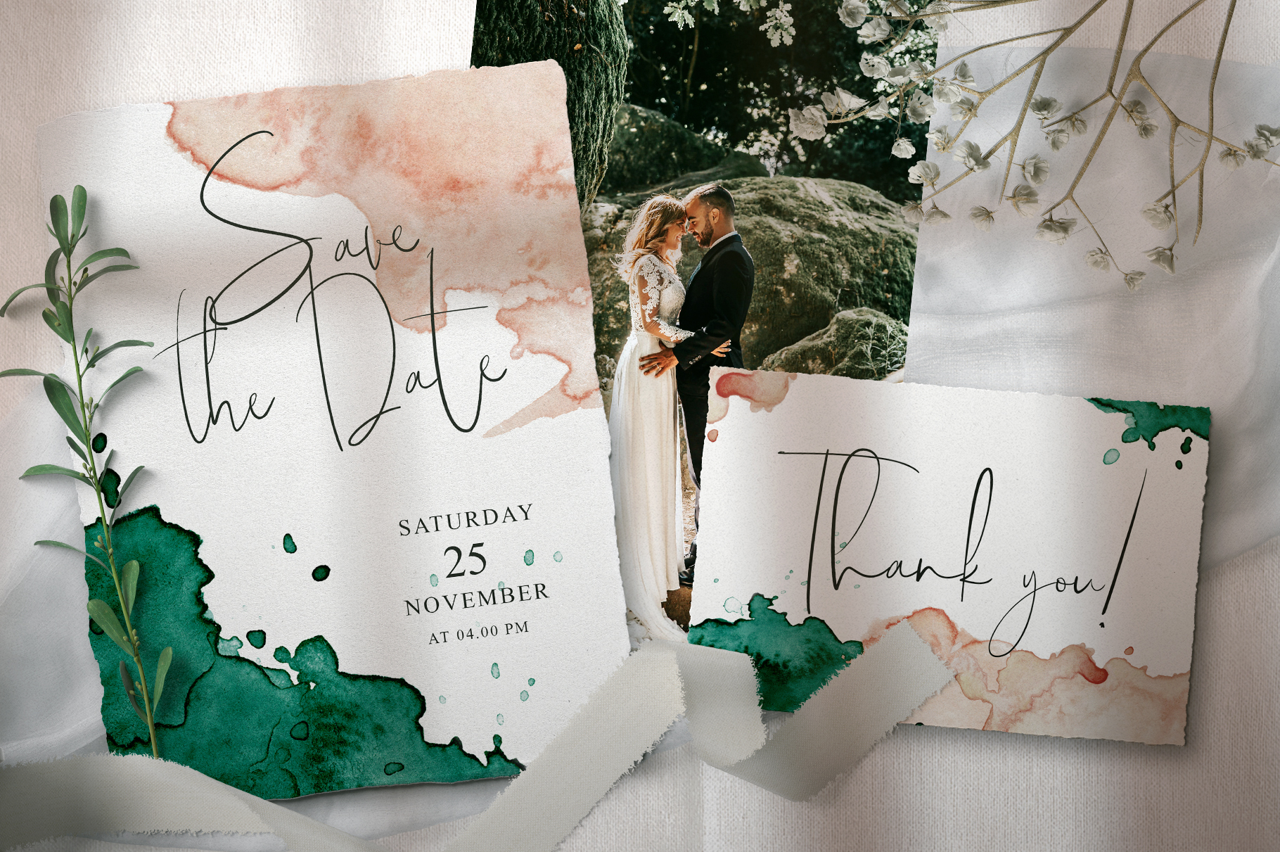 Green and Pink Wedding Invitation Suit example image 4