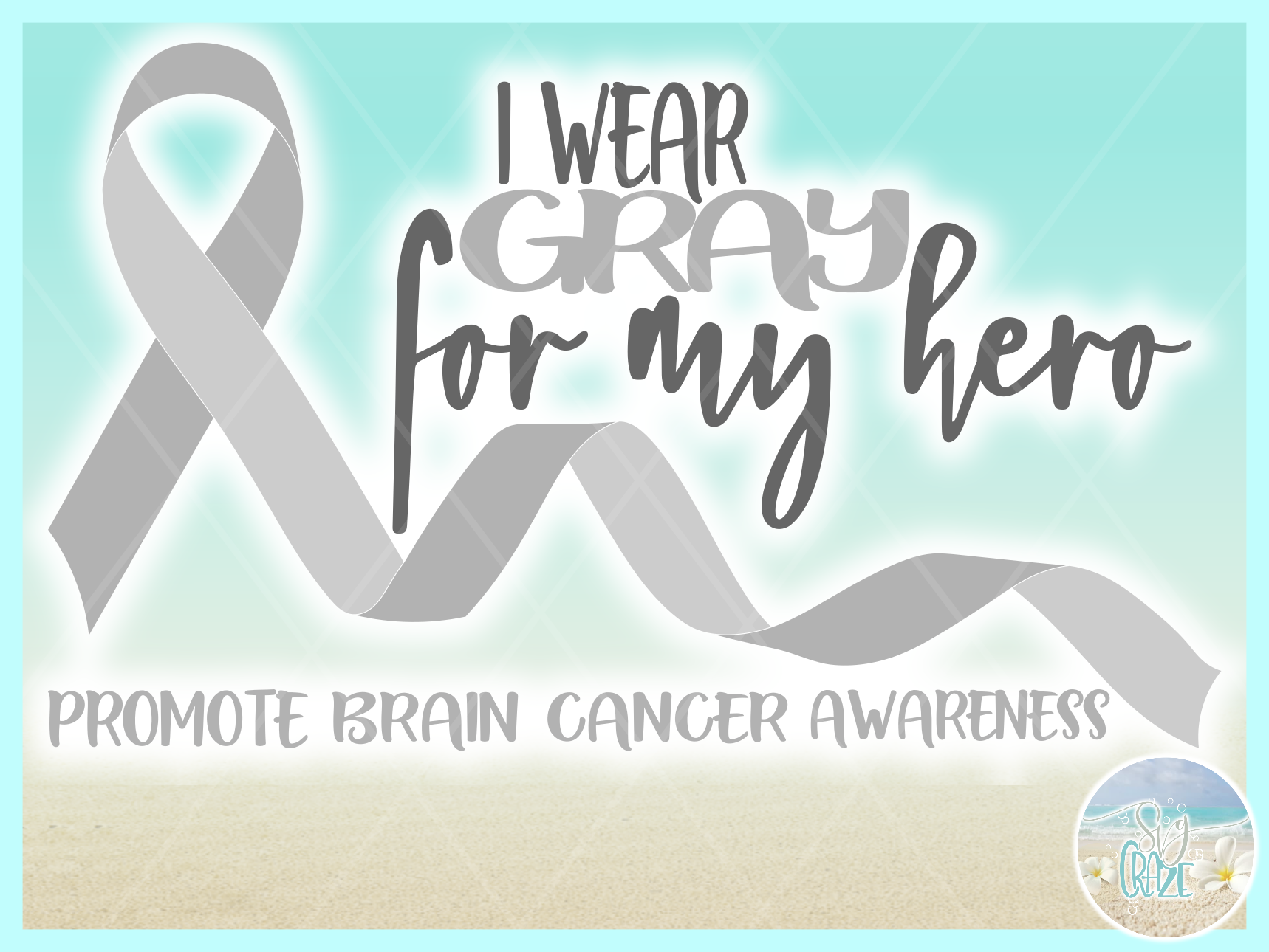 I Wear Gray For My Hero Brain Cancer Ribbon SVG example image 3