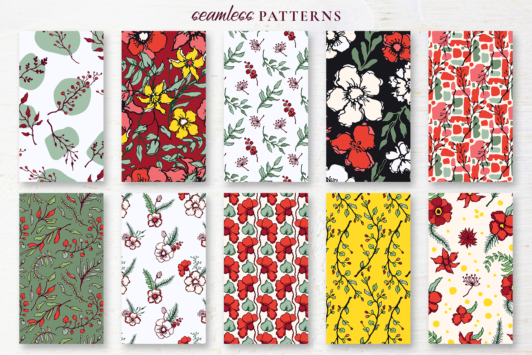 Winter Floral Patterns & Illustrations example image 16