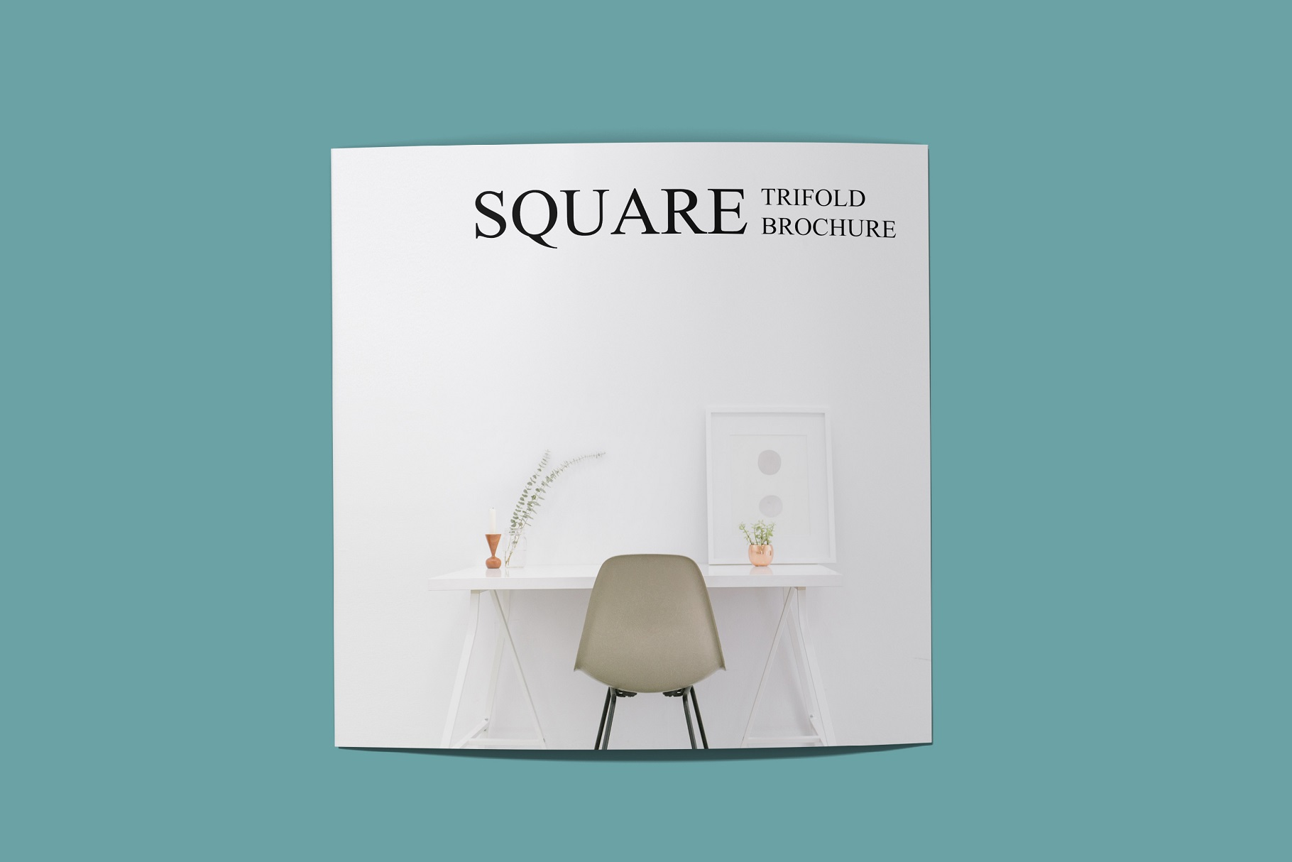 Square Trifold Brochure Mockup example image 9