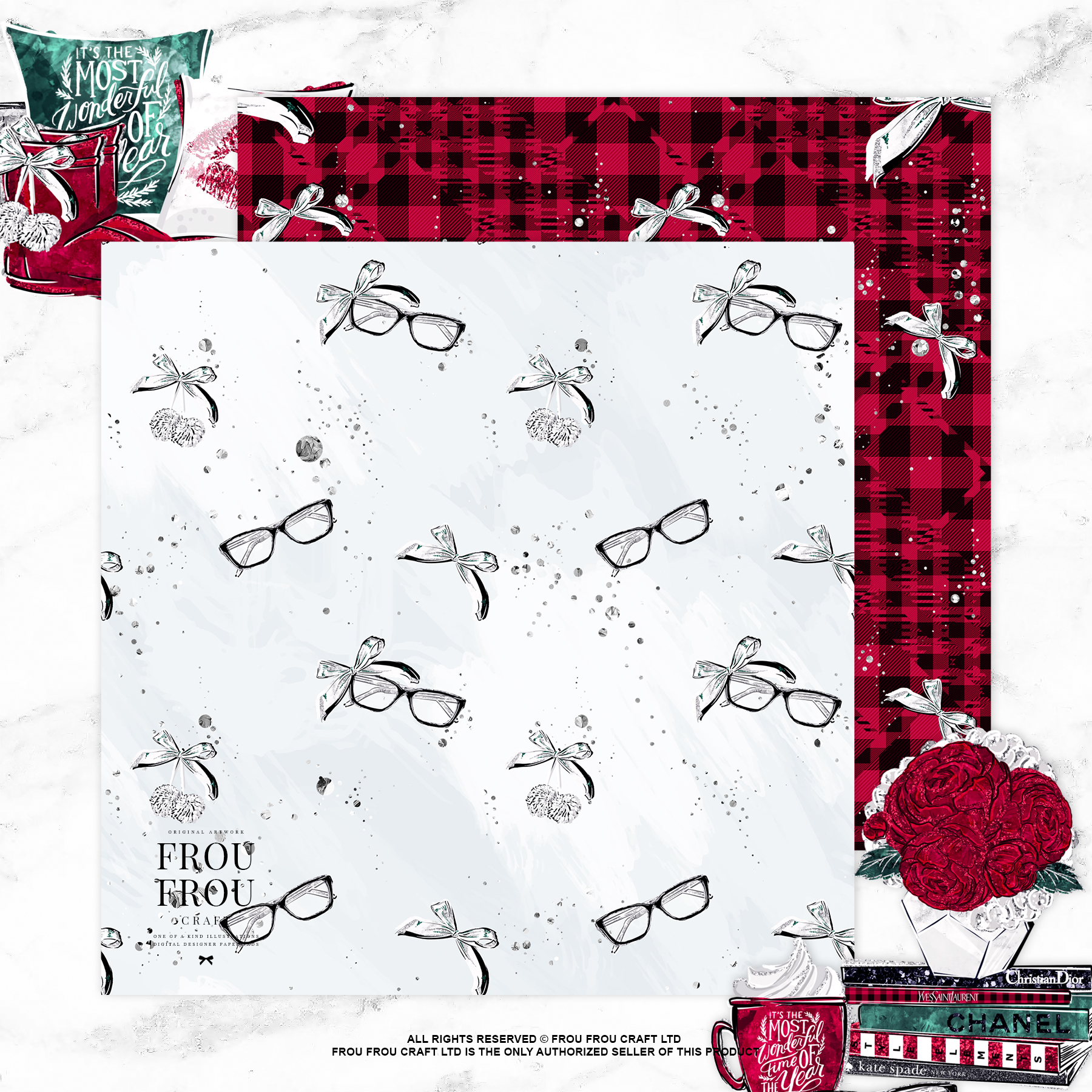 Cozy Winter Holiday Girl Reading Books Paper Pack example image 7