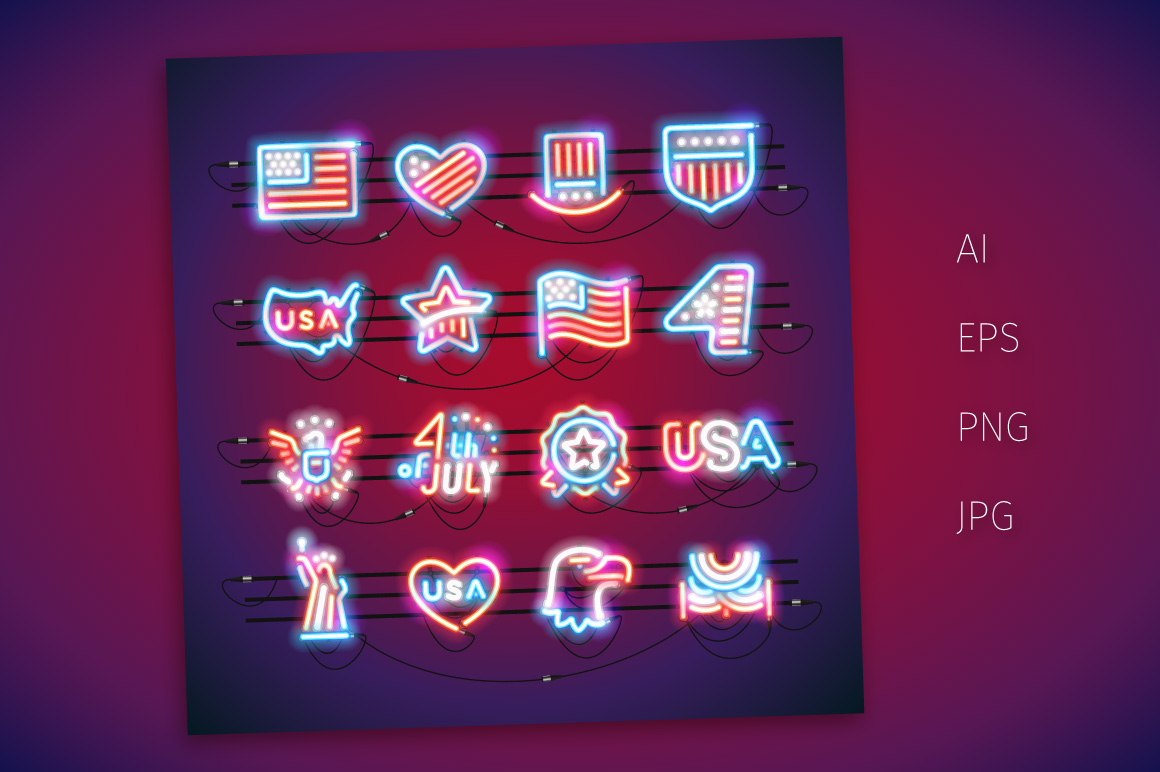 Fourth of July Neon Signs example image 2