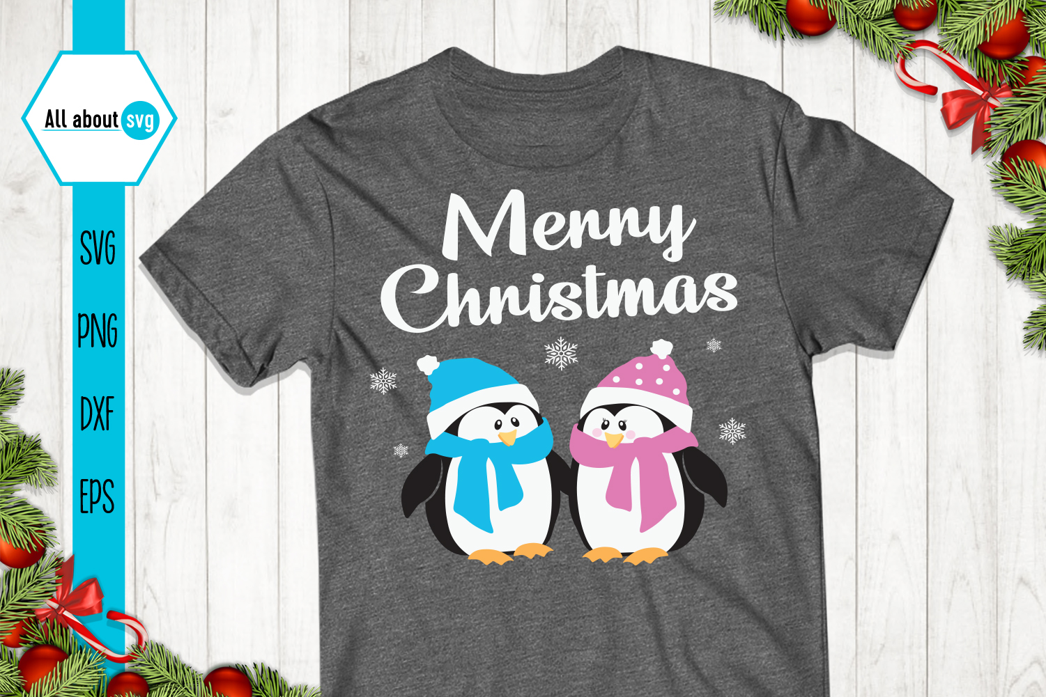 Merry Christmas Penguins Svg example image 2