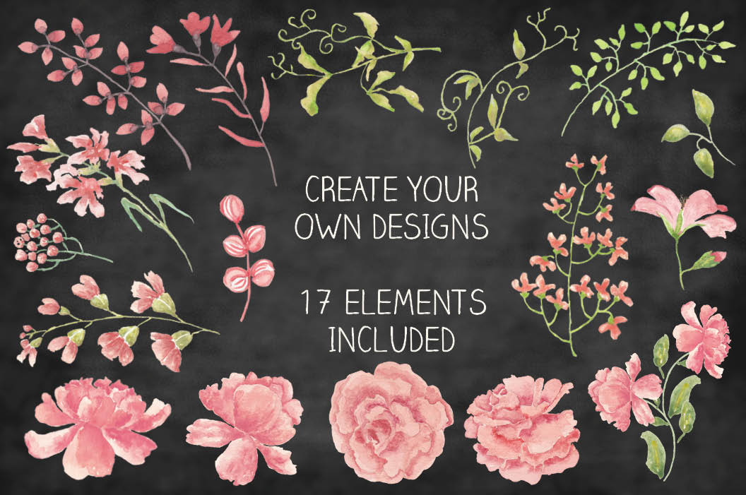 Border of blush Peonies, plus elements example image 2
