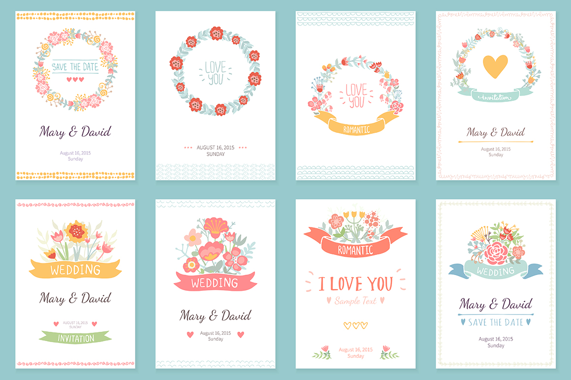 24 Romantic & Wedding Cards Template example image 3