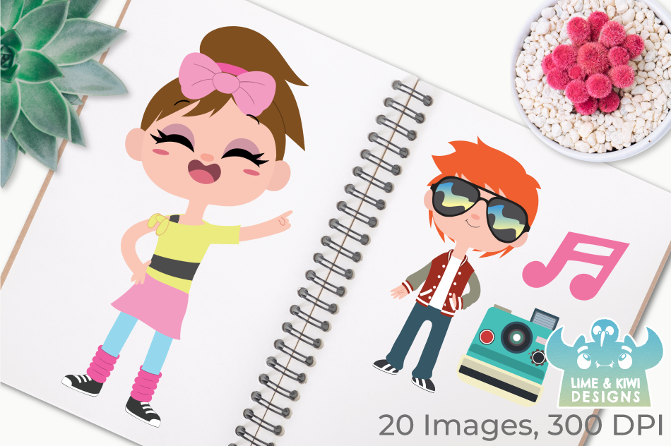 Retro Summer Fun Clipart, Instant Download Vector Art example image 3