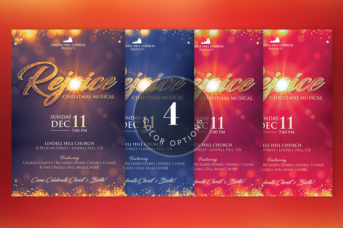 Rejoice Christmas Flyer Poster Template example image 5