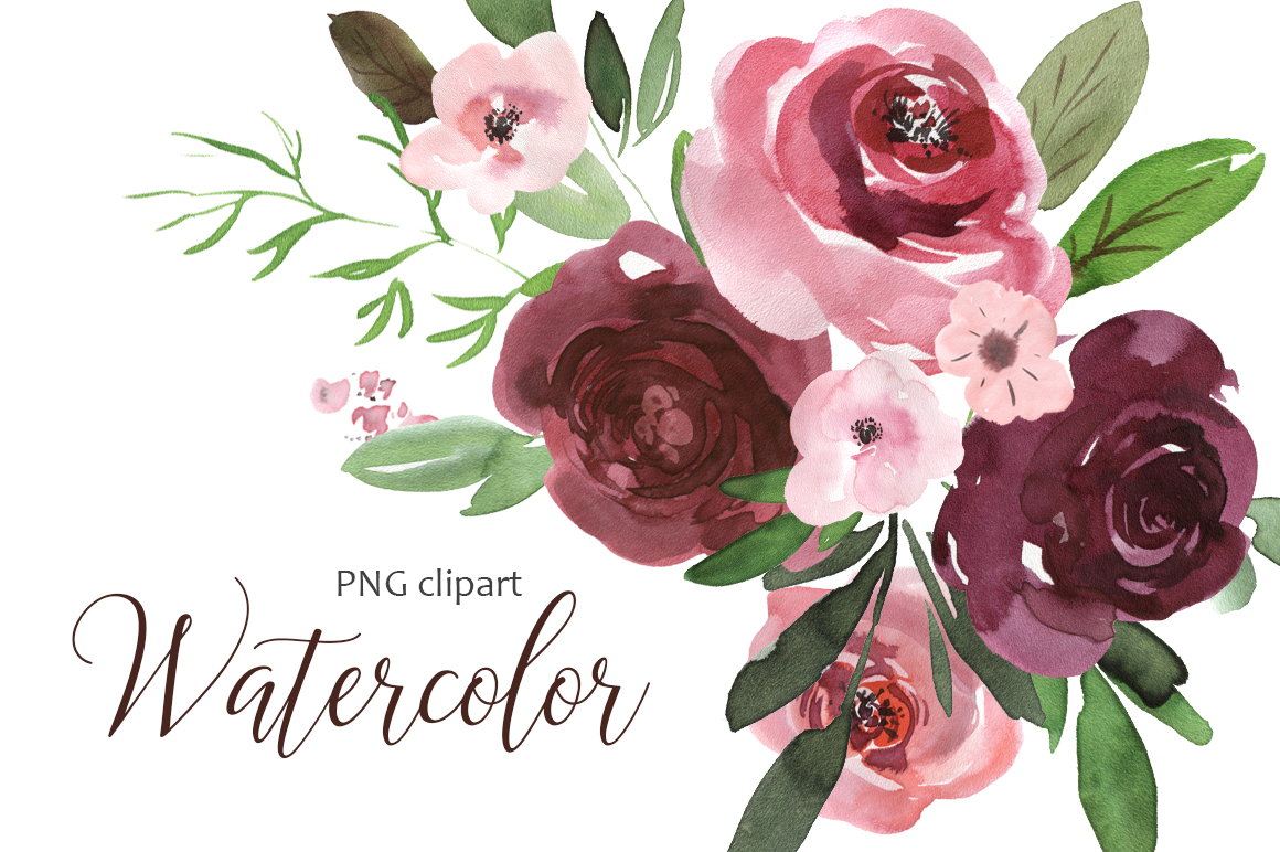 Watercolor pink & burgundy flowers clipart example image 1