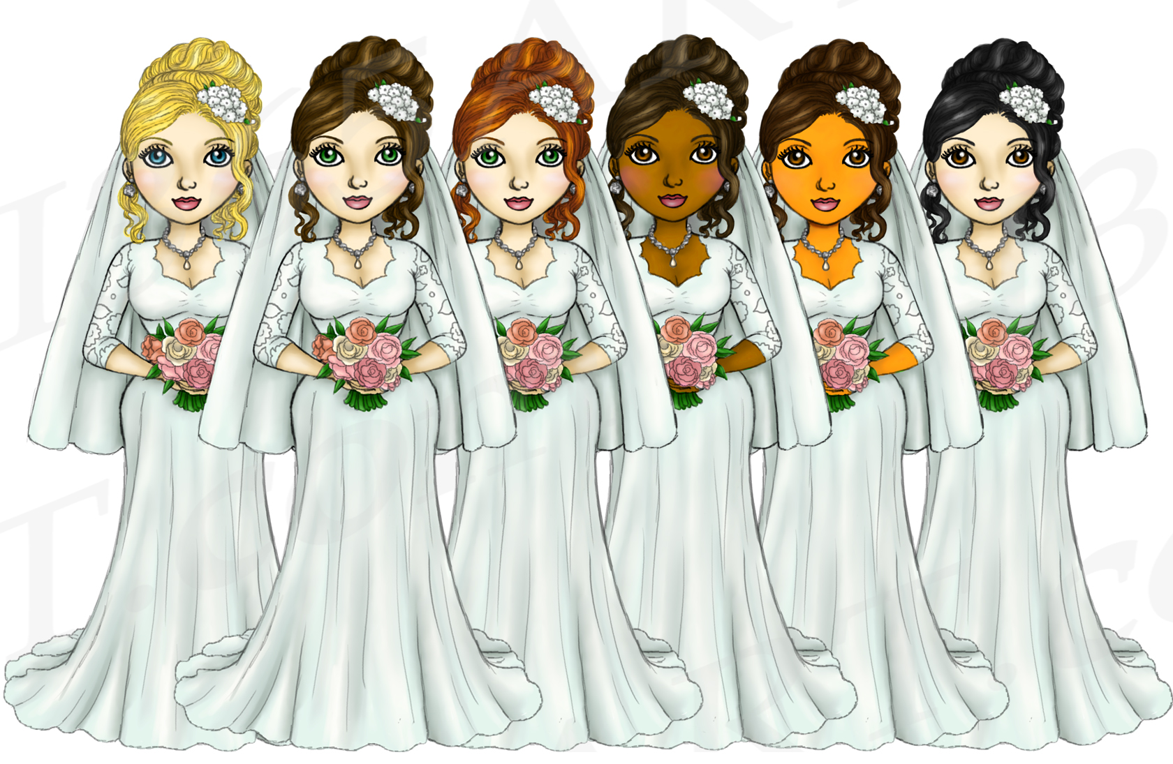 Bride Clipart Wedding Girls, Fashion Doll Illustrations, PNG example image 2