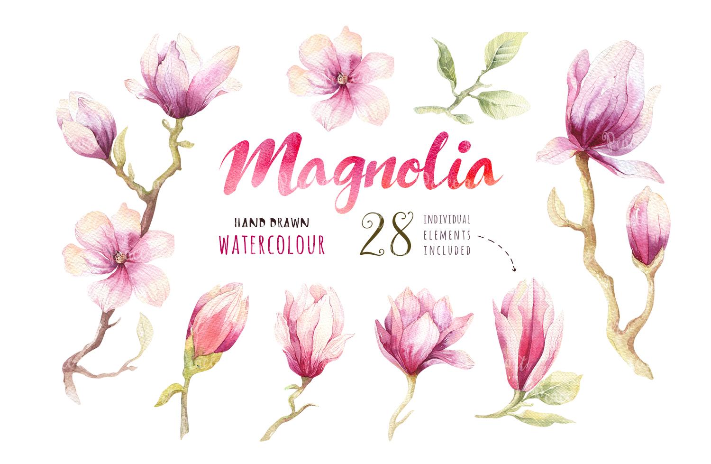 Watercolour magnolia and birds example image 2