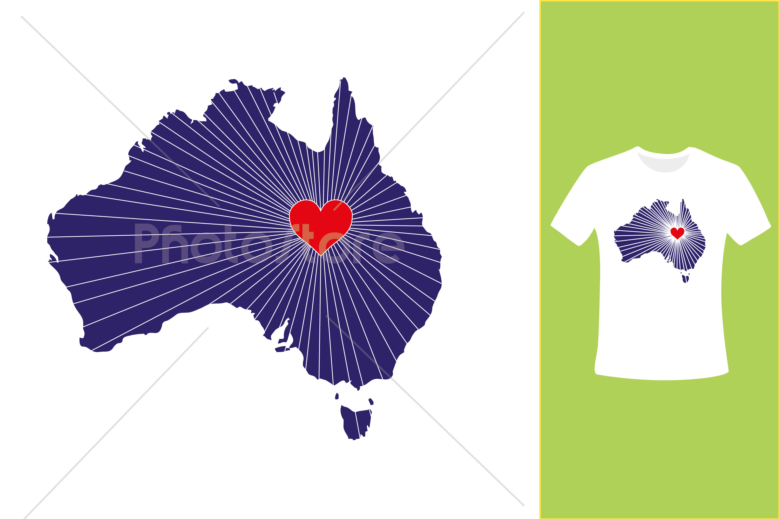 I Love Australia, Country Map Silhouette example image 2