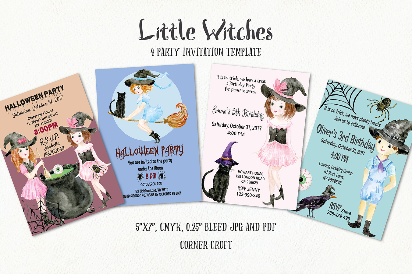 Little Witches Watercolor Design Kit example image 4
