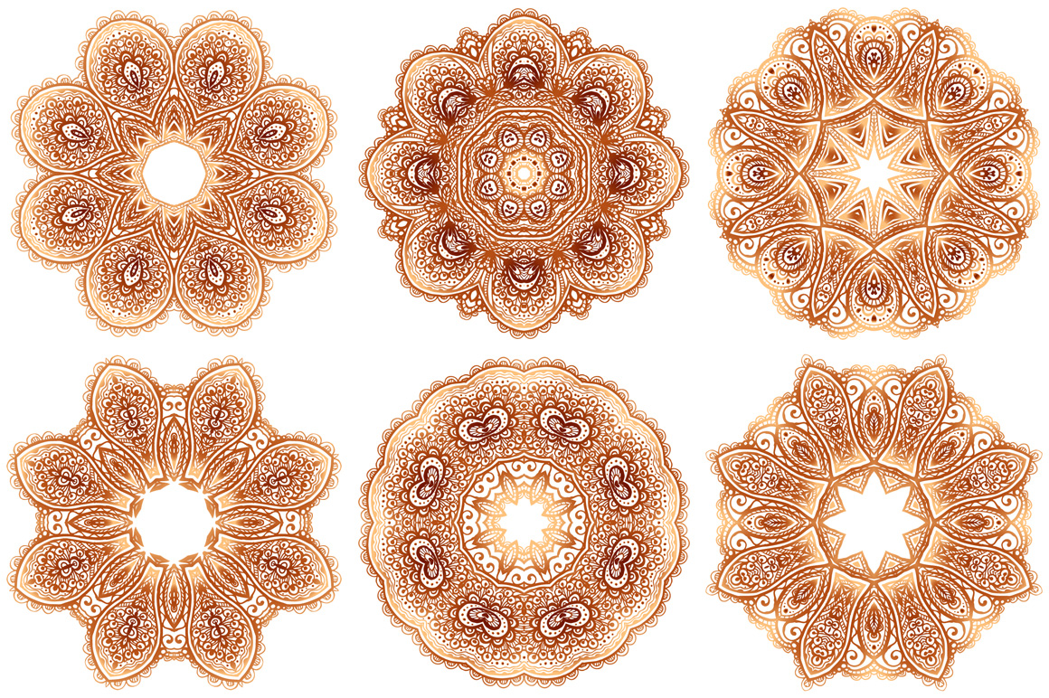 Set of 28 vintage round patterns example image 4
