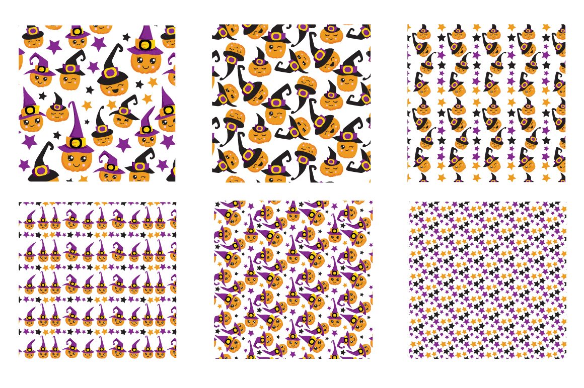 Witchy Halloween Pumpkins Pattern collection, vector ai, eps example image 3