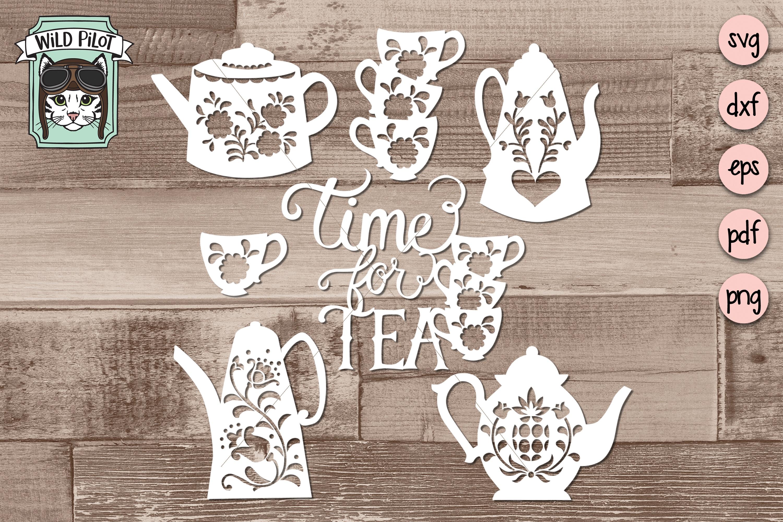Tea Party SVG files, Teapots, Teacups, Time for Tea cut file example image 2