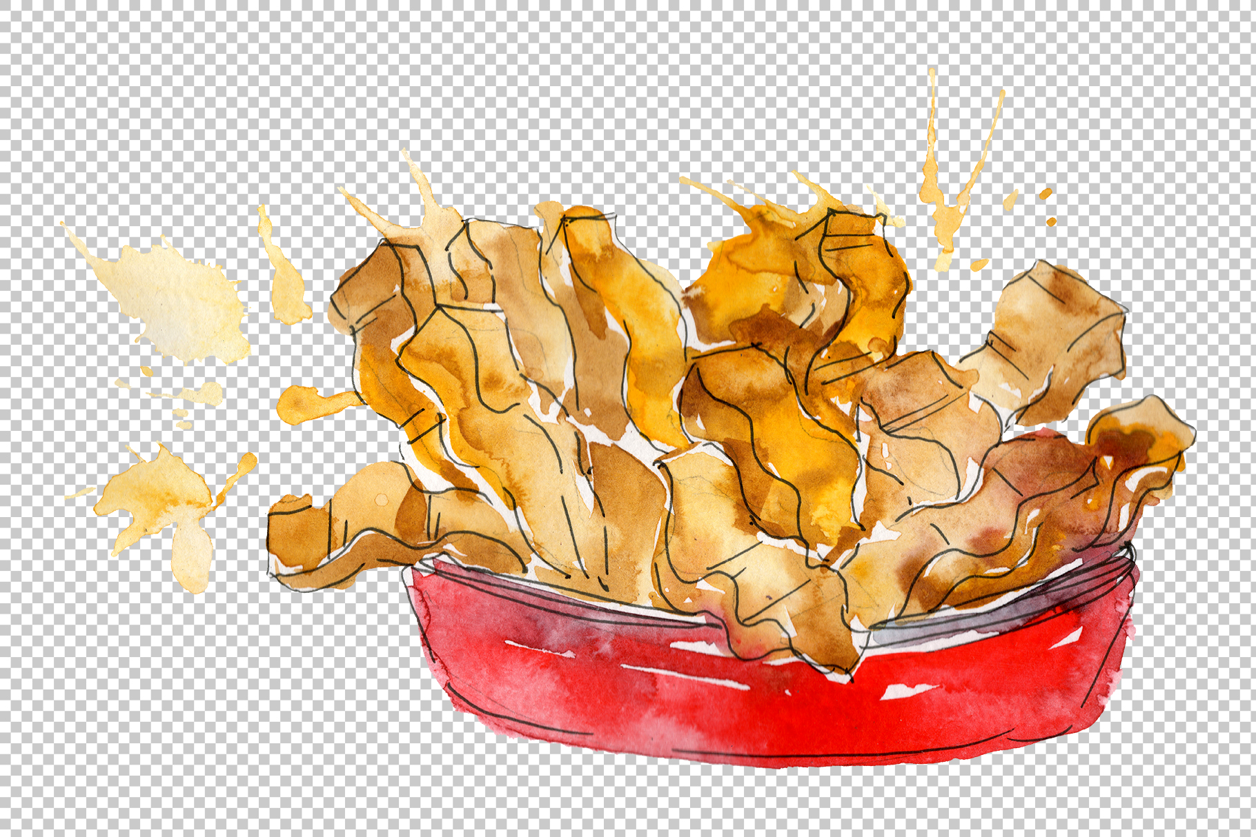 French fries Watercolor png example image 2
