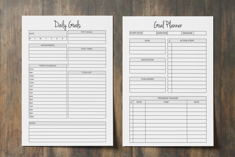 Goal Planner Printable 2019, Goal Worksheet, Planner Insert example image 3