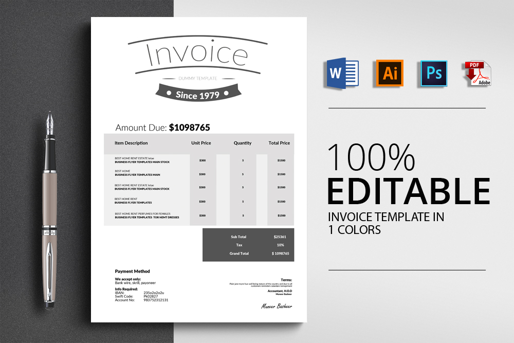 Clean Word Invoice Template example image 1