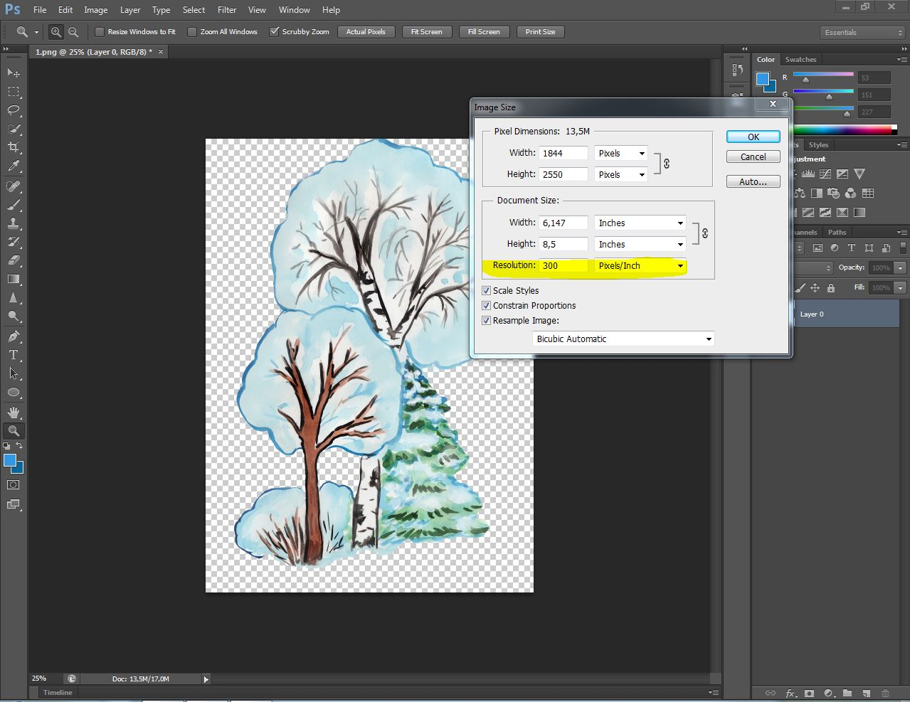 Christmas clipart, winter forest trees with Santa Claus example image 6