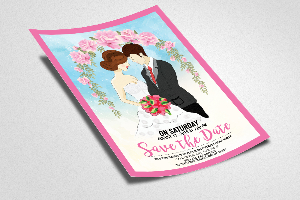 Save The Date Wedding Flyer Template example image 2