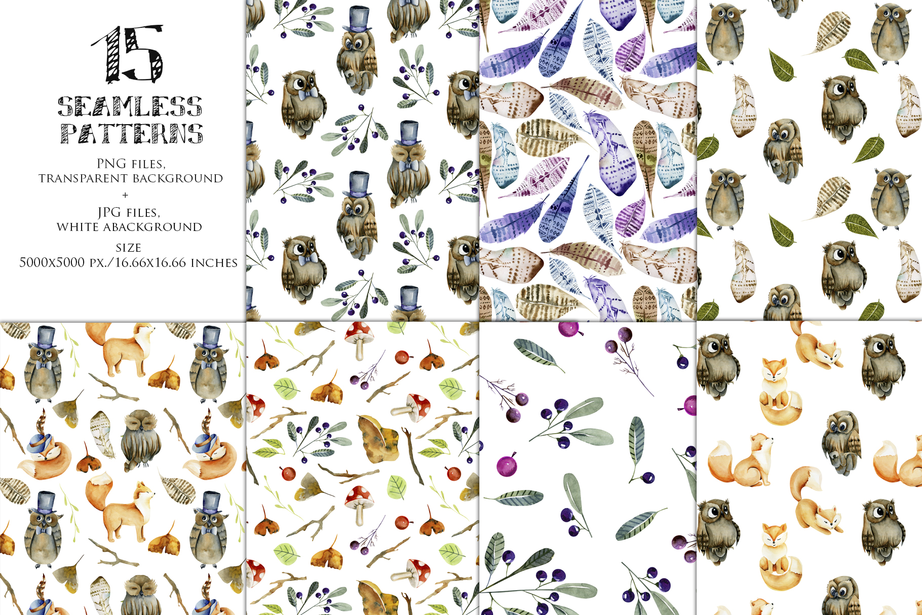Foxes & Owls. Watercolor clipart. example image 5