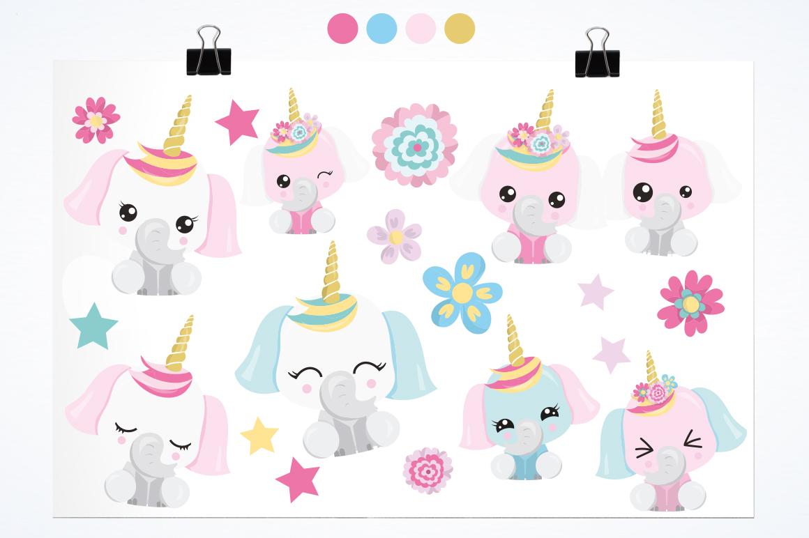 Elephant Unicorn graphic and illustrations example image 2