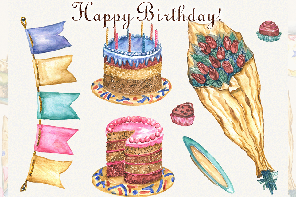 Birthday clipart, watercolor, happy birthday clipart example image 3