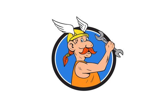 Viking Repairman Spanner Circle Cartoon example image 1