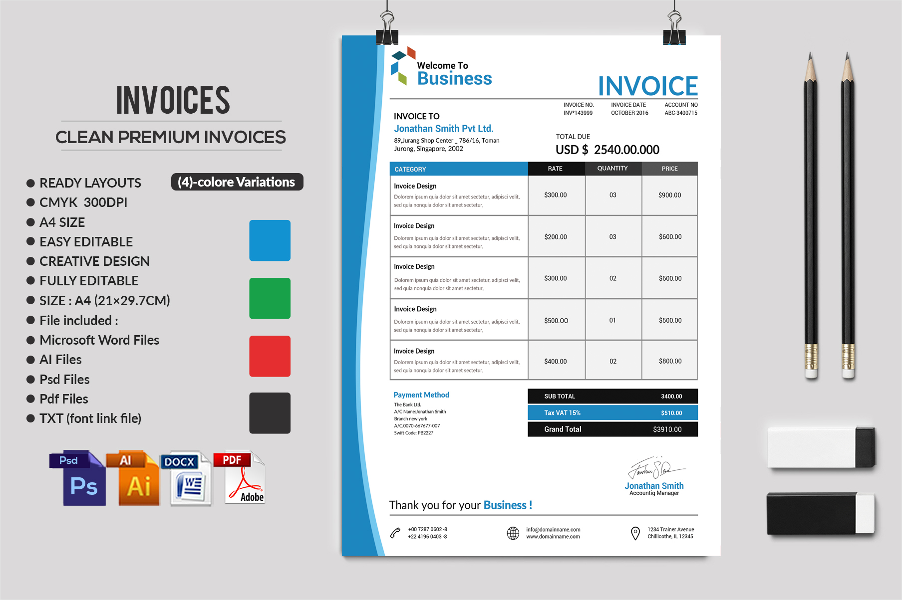 12 Clean Rsume Invoice and Letterhead Bundle example image 3