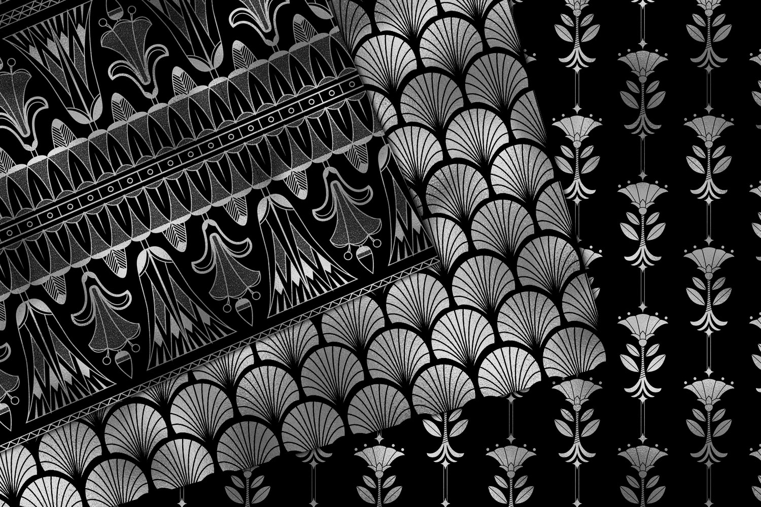 Black and Silver Art Deco Digital Paper example image 3