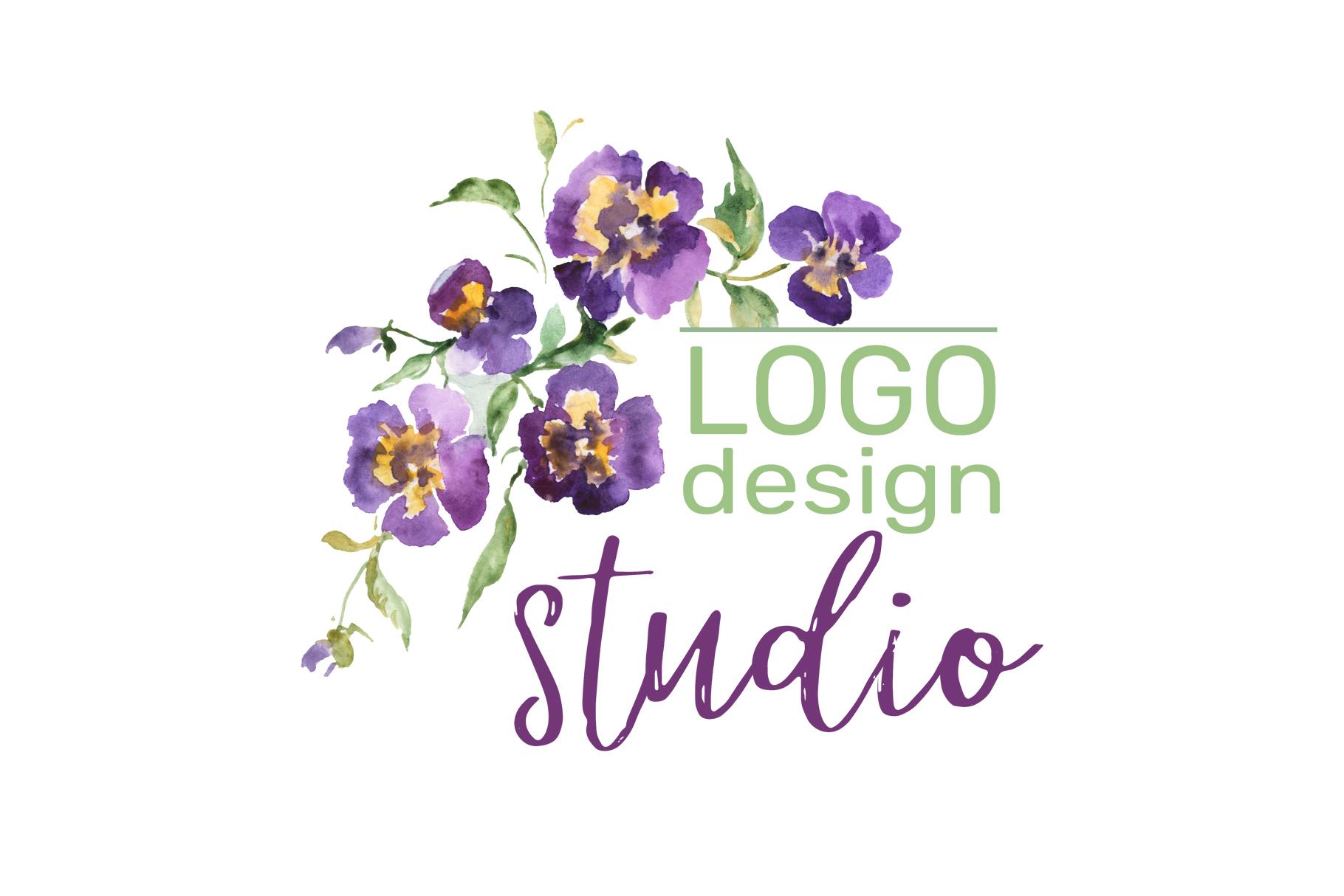 LOGO with violas Watercolor png example image 3