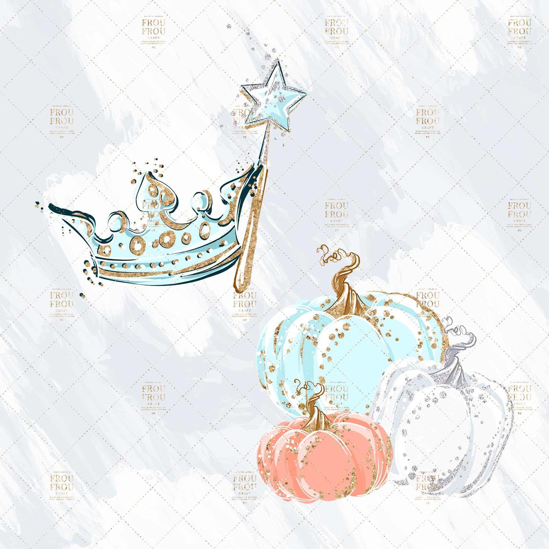 Princess Cinderella Fairy Tale Gold Glitter Clip Art example image 3