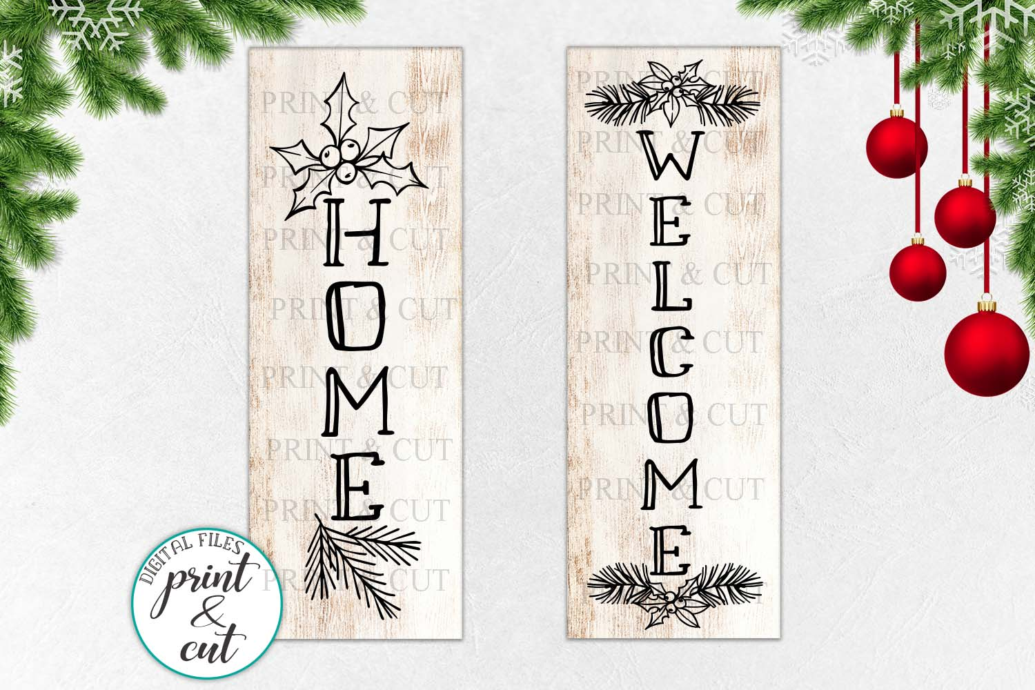 Christmas WELCOME HOME porch sign svg dxf file to cut example image 1