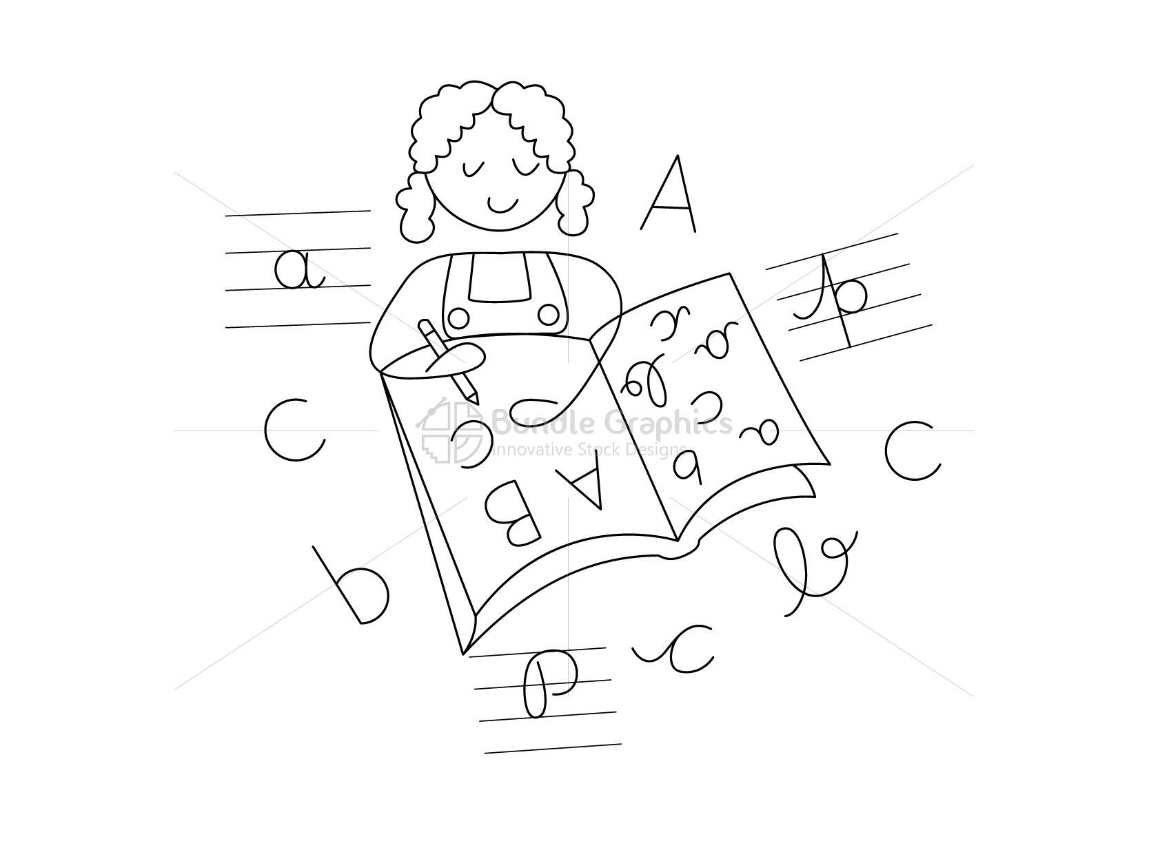 Kid Writing Alphabets Graphical Illustration example image 3