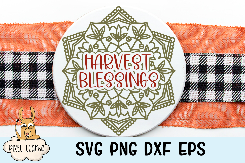 Harvest Blessings Fall Mandala SVG example image 1