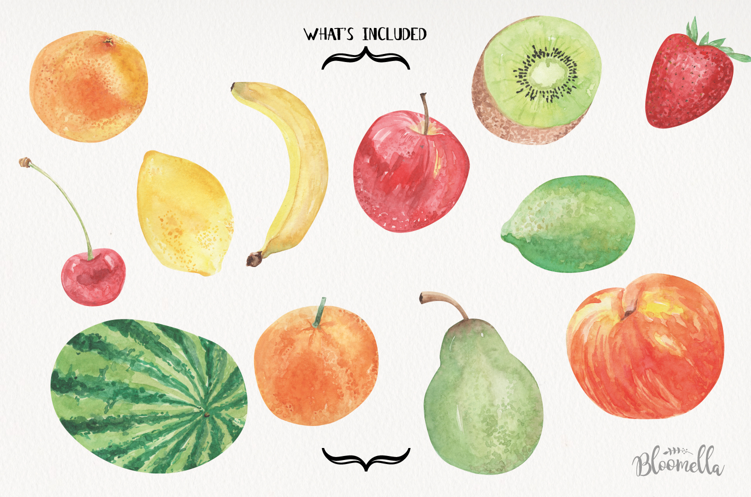 Fruit Watercolor Elements Hand Painted Apple Banana Fun Kiwi example image 4