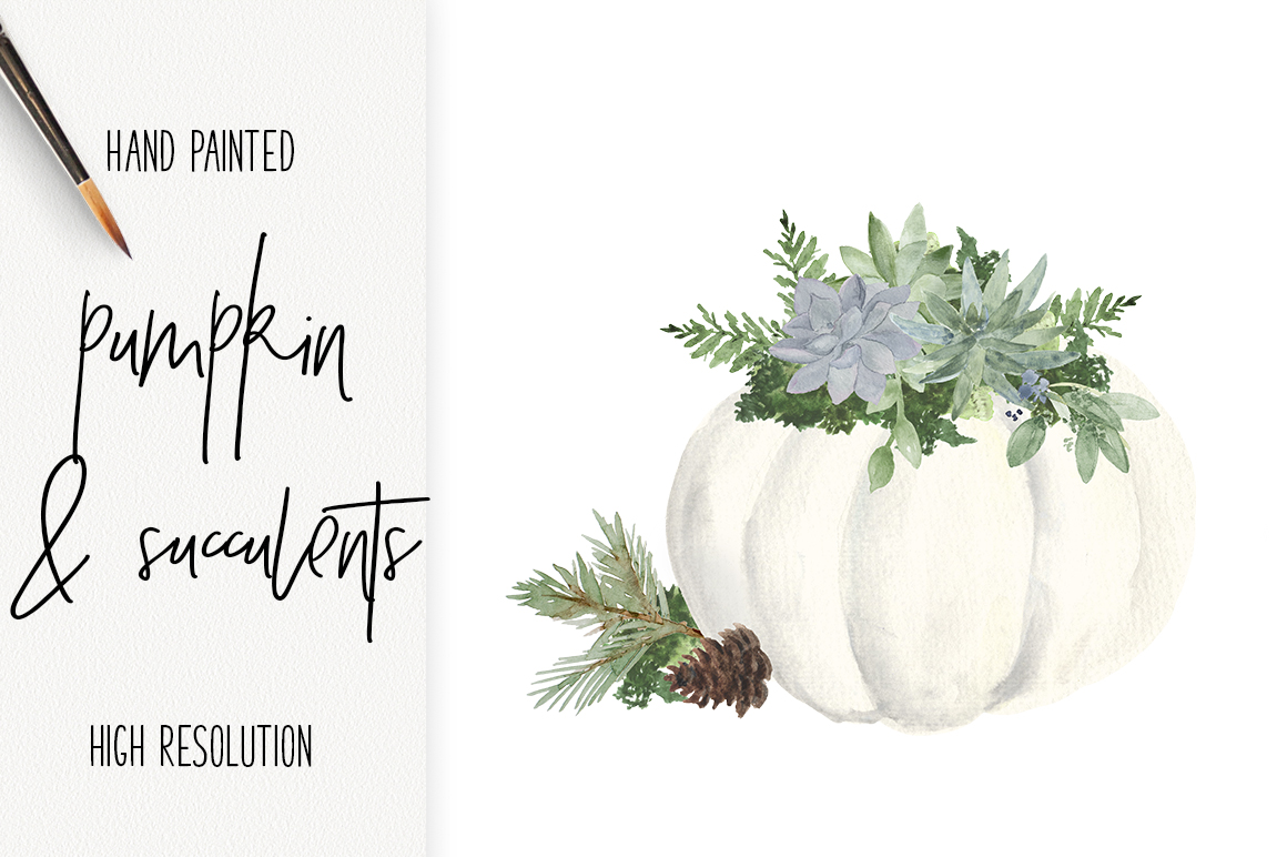White Pumpkin & Succulent Fall arrangements Clip Art PNG example image 1